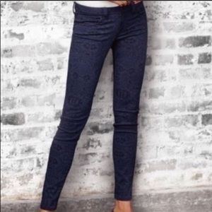 CAbi | Blue and Black Lace Jeans Curvy Skinny 4